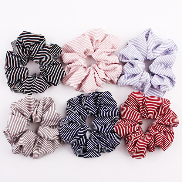 best selling 24 style Scrunchies Hair Rope Dot Stripe Grid Fabric Scrunchies Hair Accessories For Women Elastic Hairbands Girls Elegant Ponytail Hair L