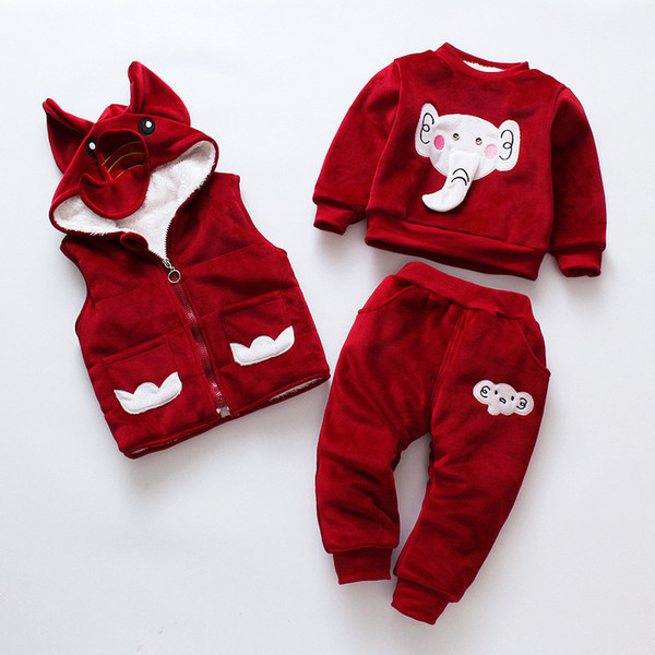 good quality Kids Winter Suit Baby Boys Girls Clothes Winter Vest + Sweatershirt + Pants 3pcs Elephant Infant Toddler Set Warm Velvet