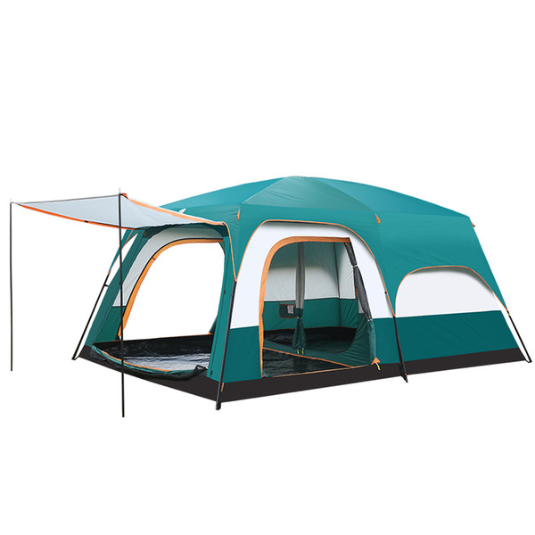5-10 Person Outdoor Camping Double Layer Tent Two Bedrooms Waterproof Big Space Family Tent