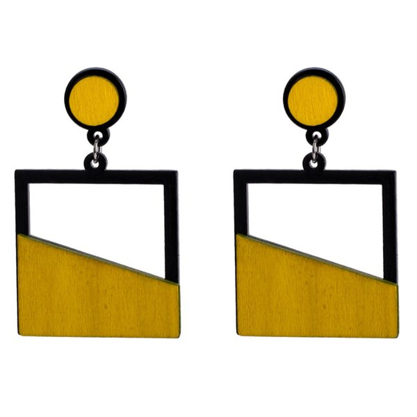 Dangle KMVEXO New Arrival Women Trendy Big Resin Square Drop Earrings Fashion Acrylic Wood Earrings Party Gifts Jewelry Accessories