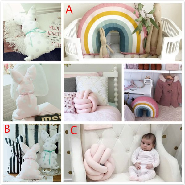 Nueva Nordic 25x35 CM Rainbow Pillow Kids Rainbow Toys Suave Decorativa Cojín de Dibujos Animados Almohada Del Bebé Decorar Vivero