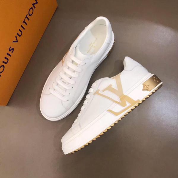 2019Y novos homens de luxo sapatos casuais de couro sapatos esportivos confortáveis moda selvagem sapatos masculinos embalagem original caixa entrega rápida