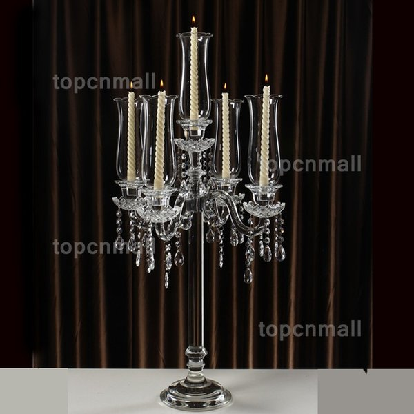 Luxury European style tall 90cm Candle Holders 5-head crystal candlestick wedding candlestick wedding craft decoration candlestick