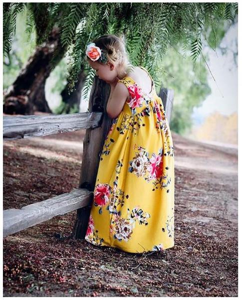 2019 Ins nova menina grande flor amarela vestido longo sem mangas verão saia infantil