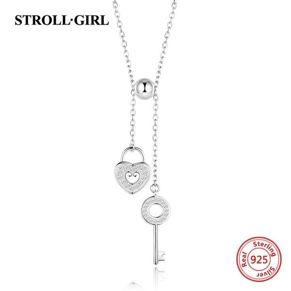Strollgirl 925 Sterling Silber Sweet Key Of Heart Lock Gliederkette Halsketten Anhänger Für Frauen Modeschmuck Freies Verschiffen Y19061703