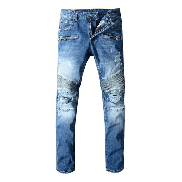 top popular Mens Distressed Ripped Biker Jeans US Size 29~42 Slim Fit Motorcycle Biker Denim For Men Fashion Designer Hip Hop Men Jeans Good Quality 2019