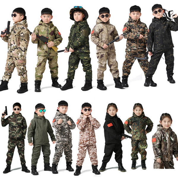 top popular Outdoor Sports Gear BDU Coat Tactical Combat Clothing Camouflage Outdoor Hoody Child Softshell Jacket Pants set NO05-217 2021