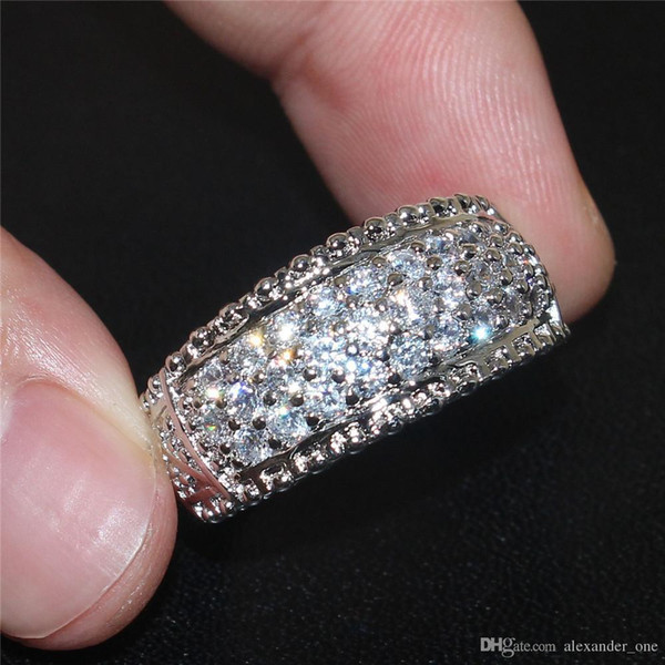 SZ 5-10 Anillos de circón de diamantes simulados completos de lujo para mujeres 10KT Joyas de alianzas de boda de compromiso de oro blanco lleno