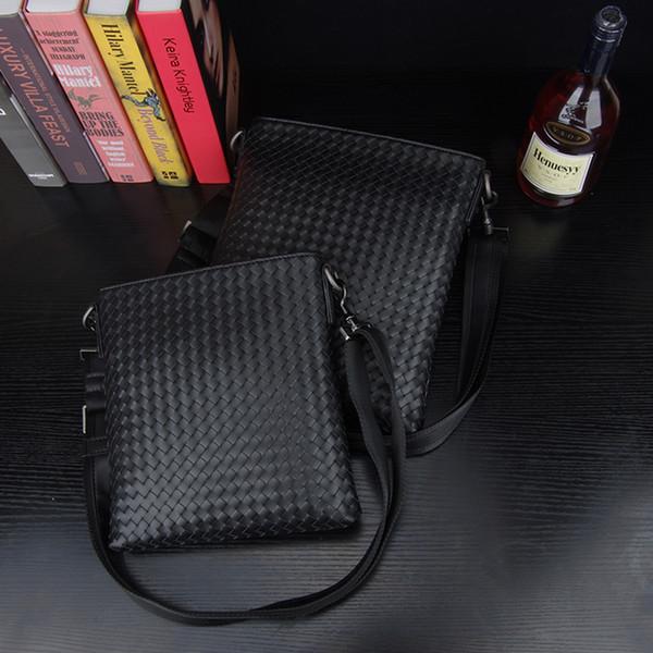 Kaisiludi leather woven men's bag single shoulder bag vertical business cowhide men oblique cross pack compilation men's