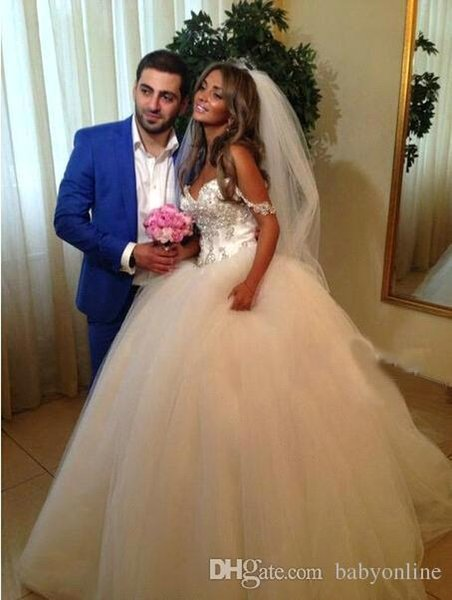 Luxury Beaded Crystals Ball Gown Wedding Dresses 2018 Sweet Off Shoulder Straps Ruched Puffy Skirt Bridal Wedding Gowns