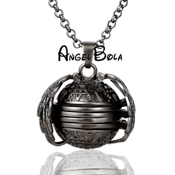 fashion Gun black glossy magic Memory photo Locket pendant necklace jewelry gift