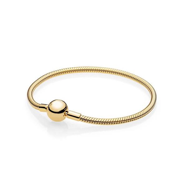 Luxury 18K Yellow Gold plated Charm Smooth Bracelet Original Box for Pandora 925 Sterling Silver Snake Chain Bracelet Set for Men Women