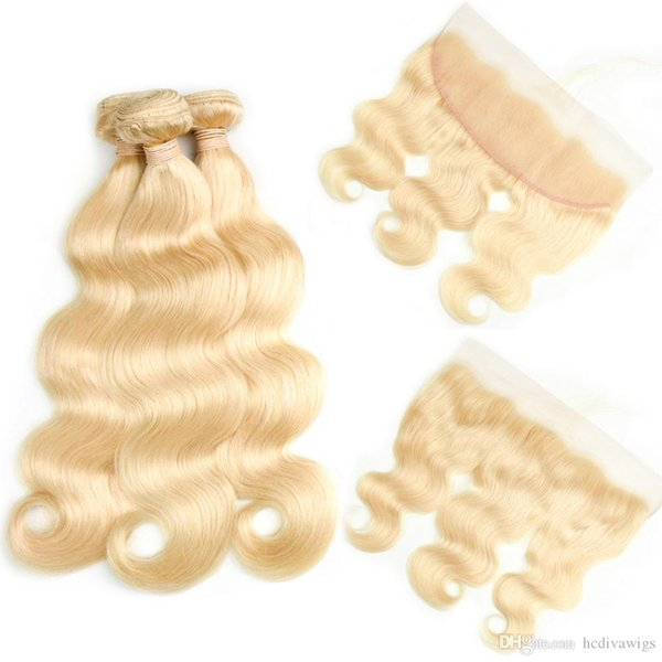 Top Selling #613 Blond Human Hair 3 Bundles with Lace Frontal Closure 8A Mink Brazilian Hair Straight Body Wave Cheapest 10-30 inch Long