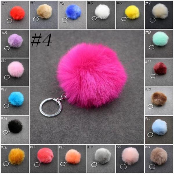 top popular Imitate Rabbit Pom Pom Car Keychain Handbag Key Ring Fur Ball Key chains Rings 3.15 Inch Lovely Backpack Wallet Keyfob 2020