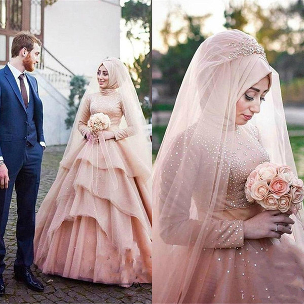 Modest Blush Pink Muslim Arabic Wedding Dresses islamic High Neck Country Beaded Bridal Gowns Long Sleeves Tulle Tiered wedding reception