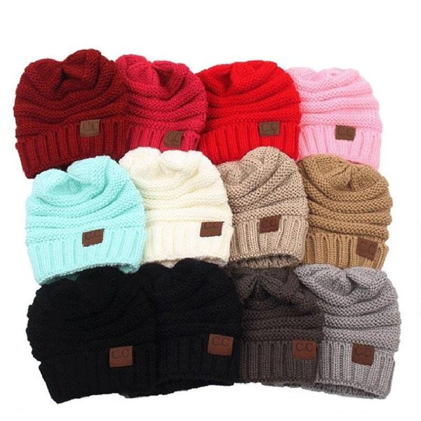 Fashion Women Men Winter Knitted Wool CC Hats Caps Label Warm Skullies Beanies Unisex Adult Casual Hat Sport Casual Cap 13 Colors