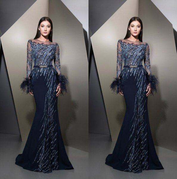 2018 Ziad Nakad Prom Dresses Navy Blue Jewel Neck Satin Lace Feather Beaded Sequins Mermaid Evening Dress Formal Occasion Gowns
