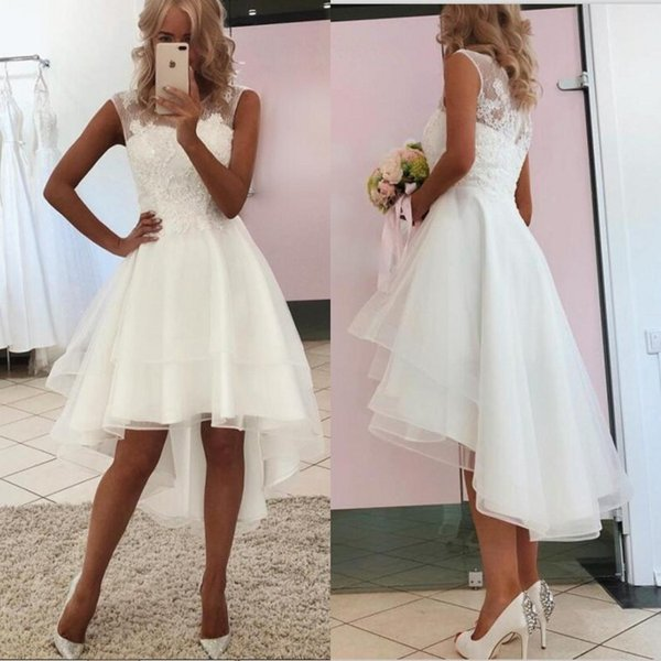 Discount 2020 New Sexy Simple Lace Short Beach Wedding Dresses High Low Cheap Country Short Bride Gowns Shopping Online For Dresses Simple Gowns From