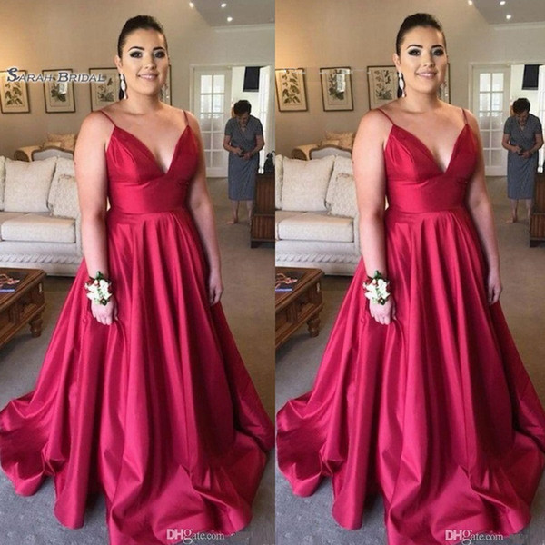 Elegant Sexy Ruched V-neck Spaghetti Prom Dresses Sleeveless Plus Size High End Quality Evening Party Dress Hot Sales