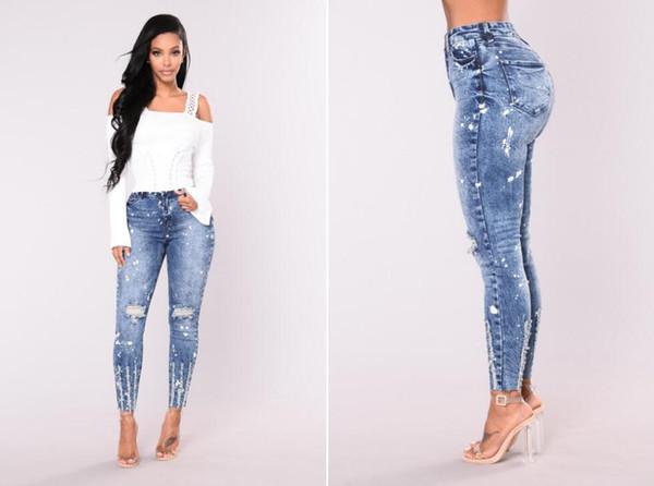 diseñador de moda de lujo 2019 marca mujer gucciclothes Ladies Stretch Tear Sexy Tight Jeans Ladies Slim Jeans
