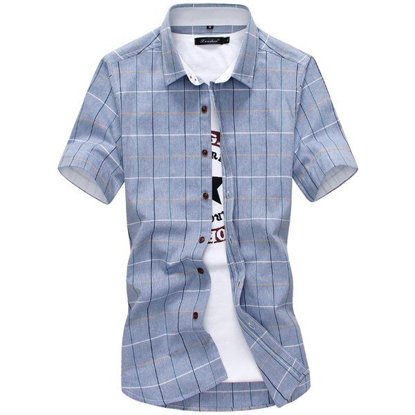 plaid shirts men 2019 new fashion 100% cotton short sleeved summer casual men shirt camisa masculina mens dress shirts, White;black