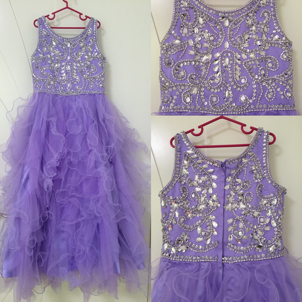 best selling 2020 New Lilac Flower Girls Dresses For Weddings Jewel Neck Long Crystal Beded Ruffles Tiered Tulle Children Kids Party Birthday Gowns