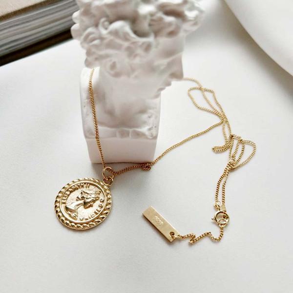 Korea Korean 925 Sterling Silver Vintage Elizabeth Round Coin Pendant Necklace gold chain wholesale Send packaging