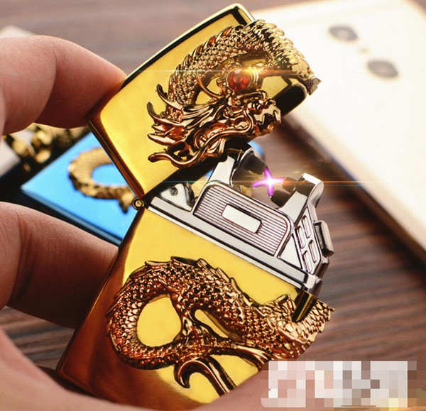 2019 Newest Beautiful Dragon Metal USB Double Arc Rechargeable Electronic Lighter Cigarette Turbo Smoking Cigar Windproof Lighters