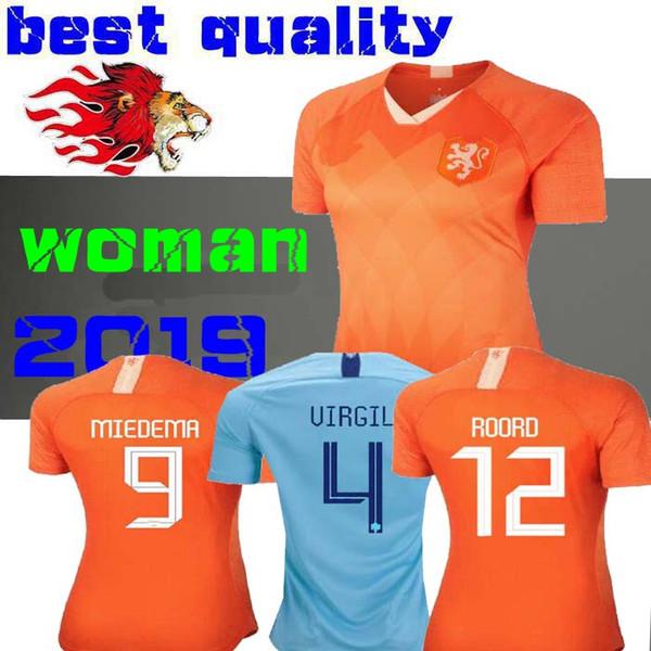 Hollanda 2019 Kadınlar Dünya Kupası Ev futbol forması Lieke Martens Holland Kadın deplasman forması Kiti MARTENS MEMPHIS MIEDEMA Kadın kız