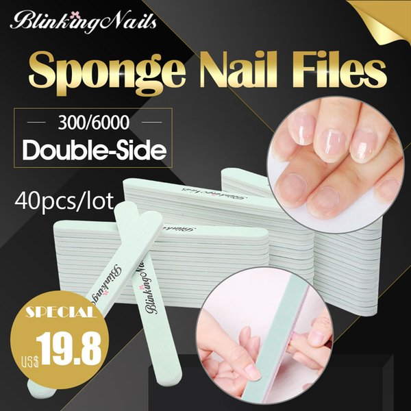 BlinkingNails 40pcs/lot Buffer for Nail Sponge Tips Sanding Polish Nail Buffer Block Buffers 2 Sides 300/6000
