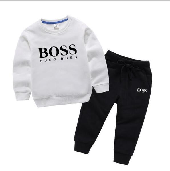xinyaxuan02 / 2019 Nuevo diseñador de lujo clásico Bebé camiseta chaqueta pantalones de dos piezas 1-4 años olde Suit Kids moda infantil 2pcs algodón ropa Se