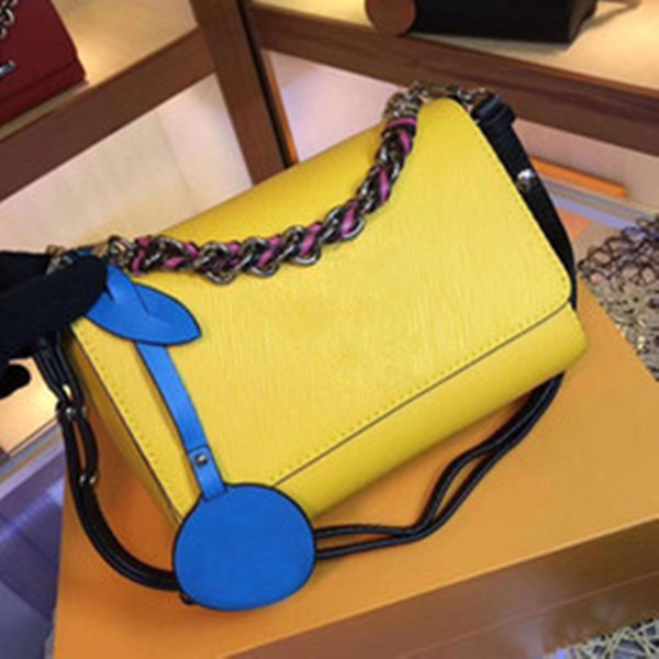best selling Newset Rotating Button Wave Pattern Satchel Chain Bags Water Ripple Real Leather Women Totes Crossbody Shoulder Bag Purse Messenger Handbag