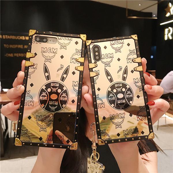 Capas de telefone de coelho de ouro capas para apple iphone xs max xr x 6 s 7 8 plus samsung s8 s9 s10 mais lite robusto casos móveis para as mulheres