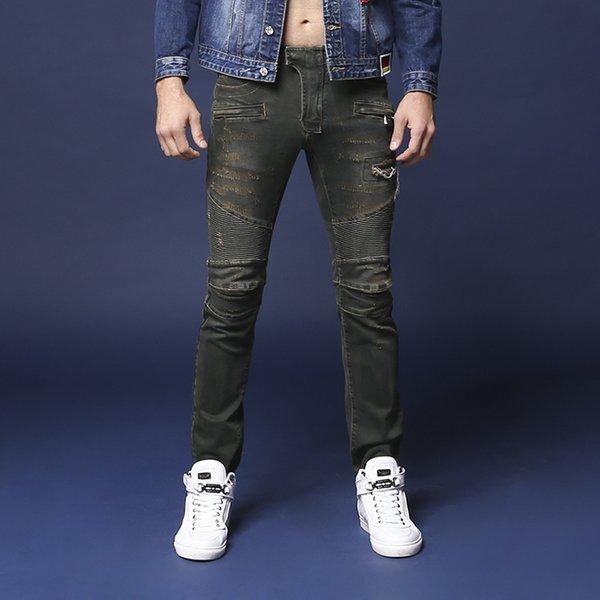 New # 1031 Men's Embellished Ribbed Biker Stretch Distressed Slim Washed Jean Size 28-42