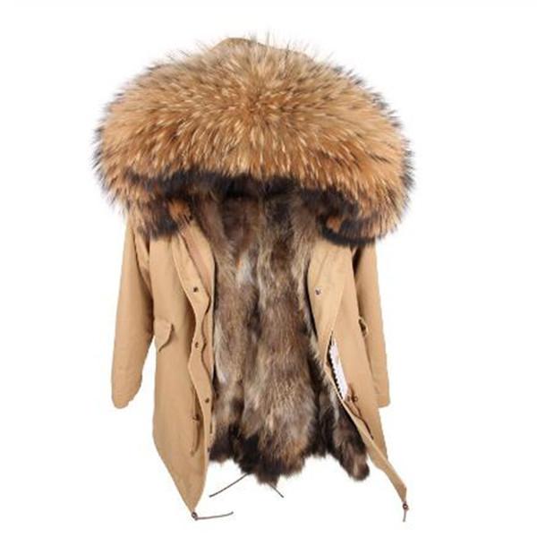 S-7XL Winter Jacket Women Natural Raccoon Fur Collar Raccoon Fur Liner Waterproof Parka Real Coat warm thick streetwear