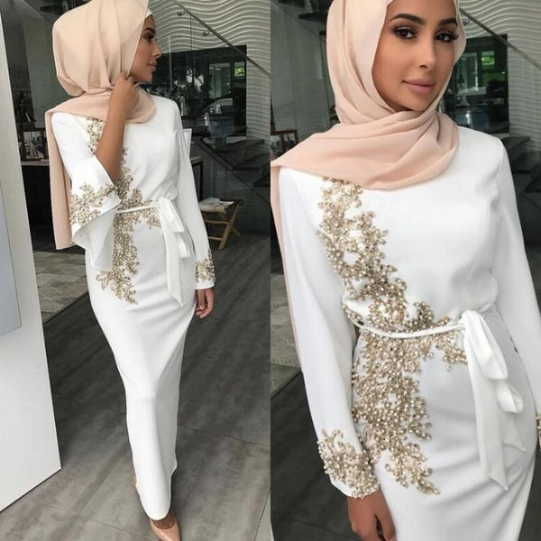 Arabisch Weiß Langarm Abendkleider Formelle Kleidung Chiffon Applikationen Perlen Lange Abendkleider vestidos de fiesta 2019