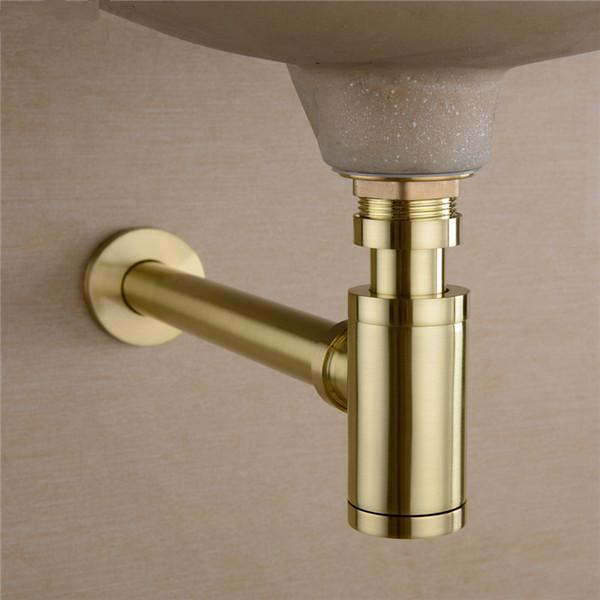 top popular Bathroom Basin Sink Tap Bottle Trap Drain Kit Waste TRAP Pop Drain Deodorization Brushed Gold Black Bronze Chrome 2021