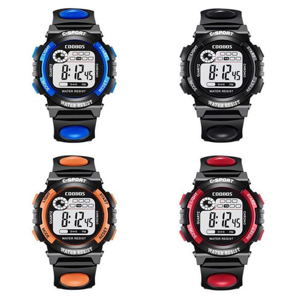 Mode Kinder Kinder Multifunktions LED Digitaluhr Leuchtender Wecker Kalender Sport Armbanduhren Junge Mädchen Studenten Geschenk Uhren