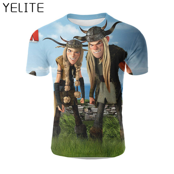 YELITE 2019 ejderhanı nasıl Tshirt T gömlek 3D Baskı Sıcak Anime Baskılı T-Shirt Komik Tops Kollu Serin O-Boyun Giyim