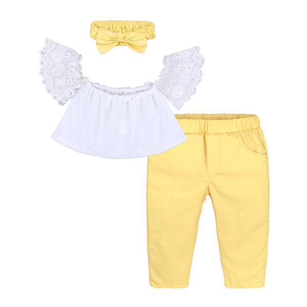 Mädchen dreiteilige Klage Baby eine Schulter kurze Glocke Hülse Spitze großen Bogen Haarschmuck elastische Taille lange Hosen 6