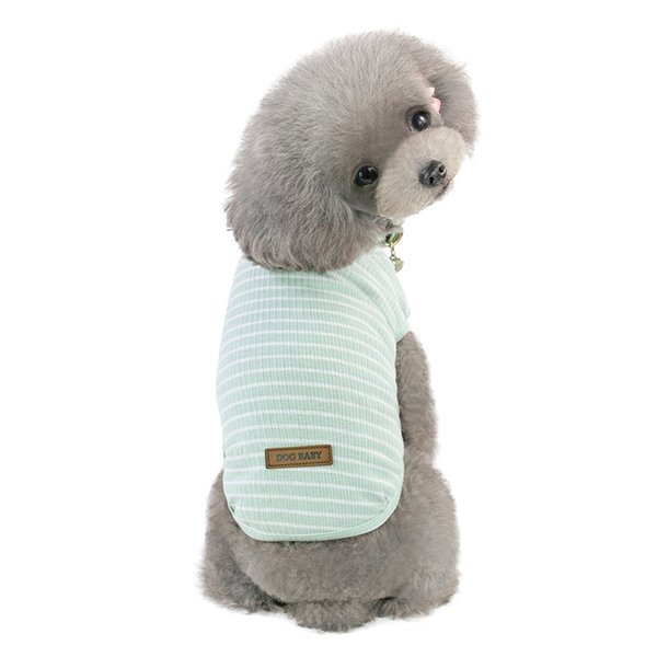 Pet Spring Summer Classical Stripes Vest Cotton,Cute Dog Clothes T-shirt For Teddy Small Stripe Polo vest