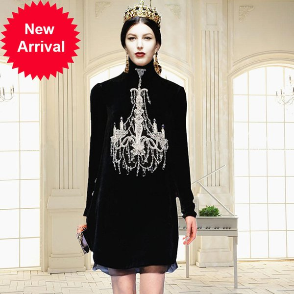 178241a154 ... Dresses ;. Runway Designer High Quality 2018 Autumn Winter New Vintage  Heavy Nail Beads Plus Size Maxi Woman
