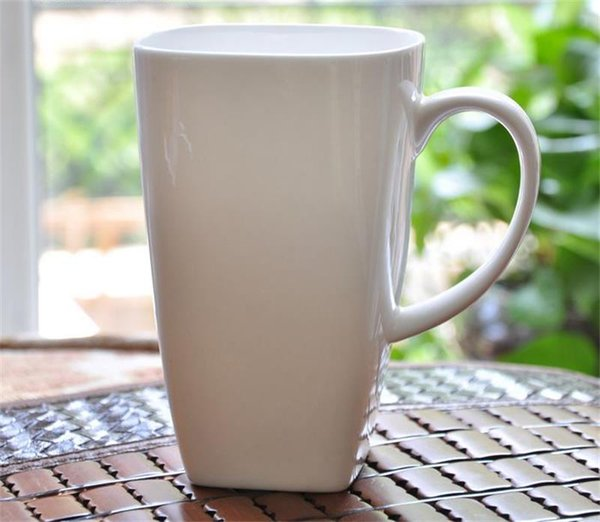 700ML, plain white bone china large tea mugs, square porcelain cup mornin water, tasse a cafe ceramic coffee cup, tumbler cafe