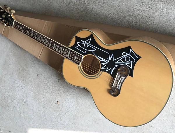 Factory outlet guitarra SJ200 ELVIS presley guitarra acústica de madera natural jumbo guitarra acústica cuerpo de mástil de tigre natural