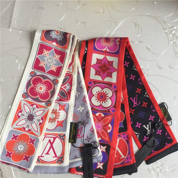 Echarpe en soie de haute qualité marque imprimée noeud papillon en soie double ruban multifonctionnel mode ceinture de cheveux pour hommes et femmes