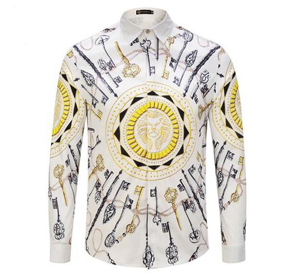 Jeunes hommes version coréenne de personnalité spéciale boutique mode créative hanche hanche clé lion chemise à manches longues occasionnels / M-2xl