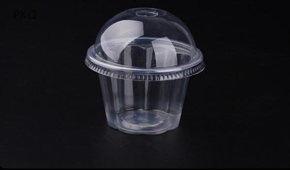 best selling 100pcs Clear Pudding Cup Disposable Plastic Cups Lid Small Plastic Containers Dessert Box Wedding Birthday Party Supplies