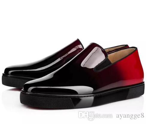 2019 new style fashion designer low chest pointed flat shoes red bottom red rivet exclusive sneakers for men and women party 36-46 023