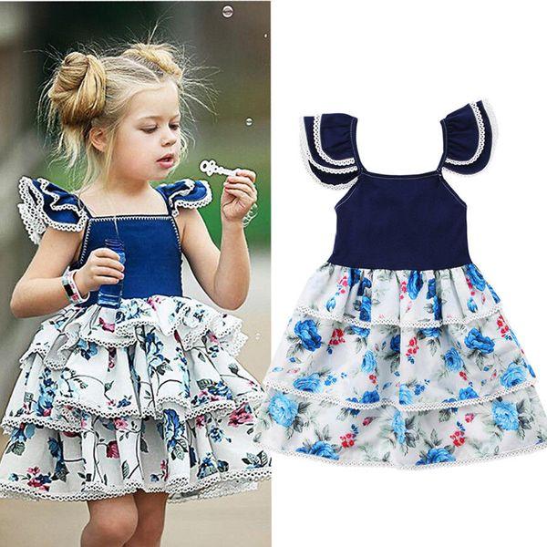 Bebé Niños Niñas Flor Vestidos Azules Capas de Encaje Princesa Tutu Vestido de Volantes Niños Niña Sin Mangas Banquete de Boda Concurso Camisas Ropa