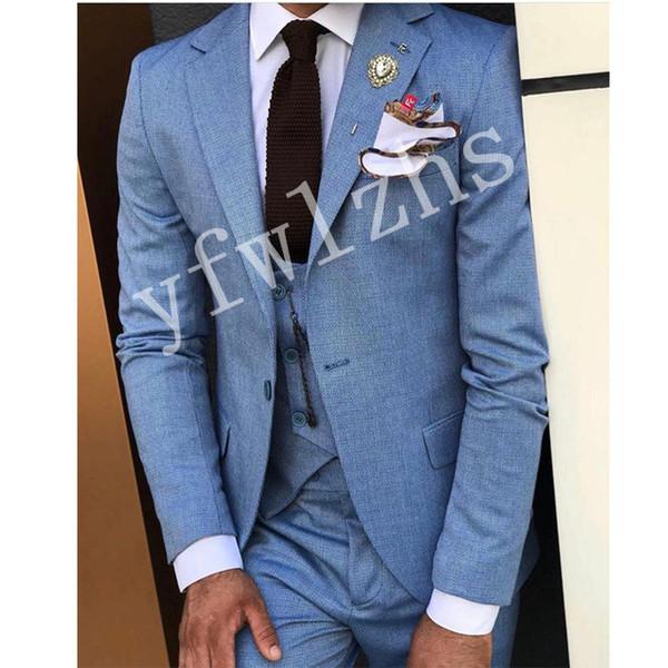 Un nouveau bouton Groomsmen Notch Lapel mariage smokings marié hommes Costumes de mariage / robe de bal / dîner Best Man Blazer (veste + Tie + Gilet + Pantalon) 1313